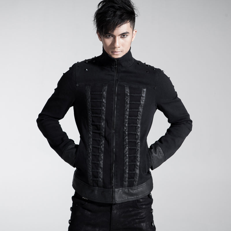 Mens Gothic Rock Punk Black Spiked Rivet Jacket Street Biker Style Jacket