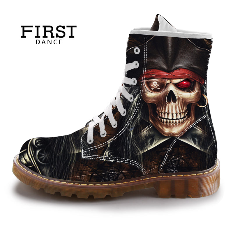 Mens Gothic Rock Steampunk Dr Martins Skull Boots Black Cotton Printed Boots