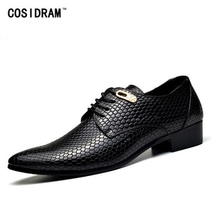 Mens Cosidram Snake Skin Designer Leather Shoes Business Classic Shoes Pointed Toe
