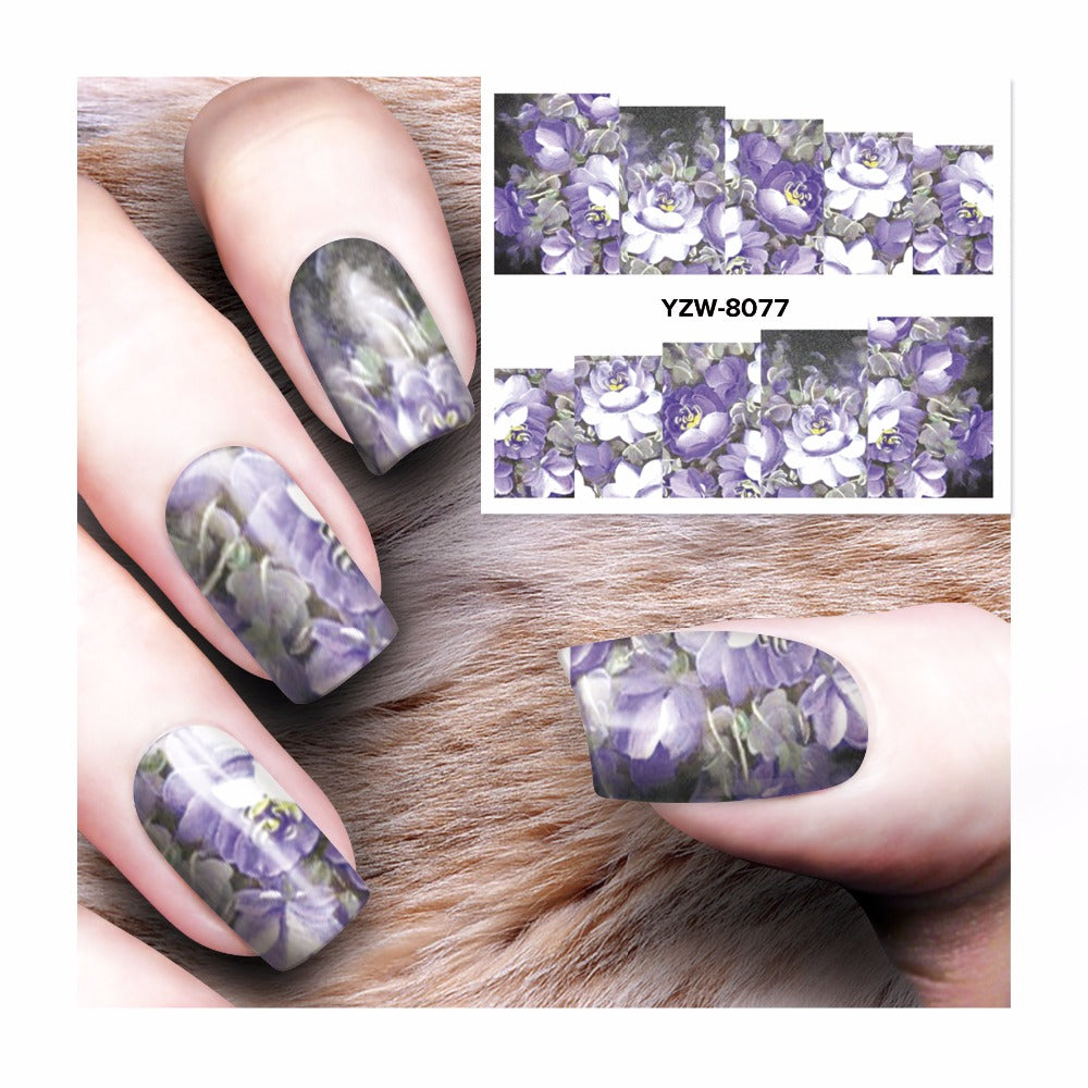1 Sheet Gothic Blooming Flower Nail Art Water Decals Transfer Sticker Nail Decorations