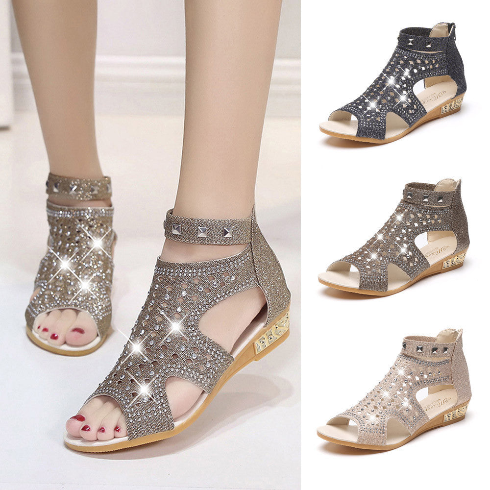Womens Spring Summer Sparkling Wedge Sandals Hollow Roma Shoes