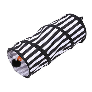 Black & White Foldable Pets Cats Tunnel Tent with Ringing Bell