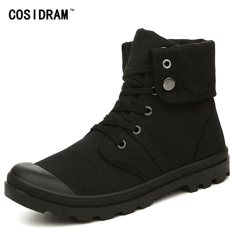 Mens Gothic High Top Military Canvas Ankle Boots