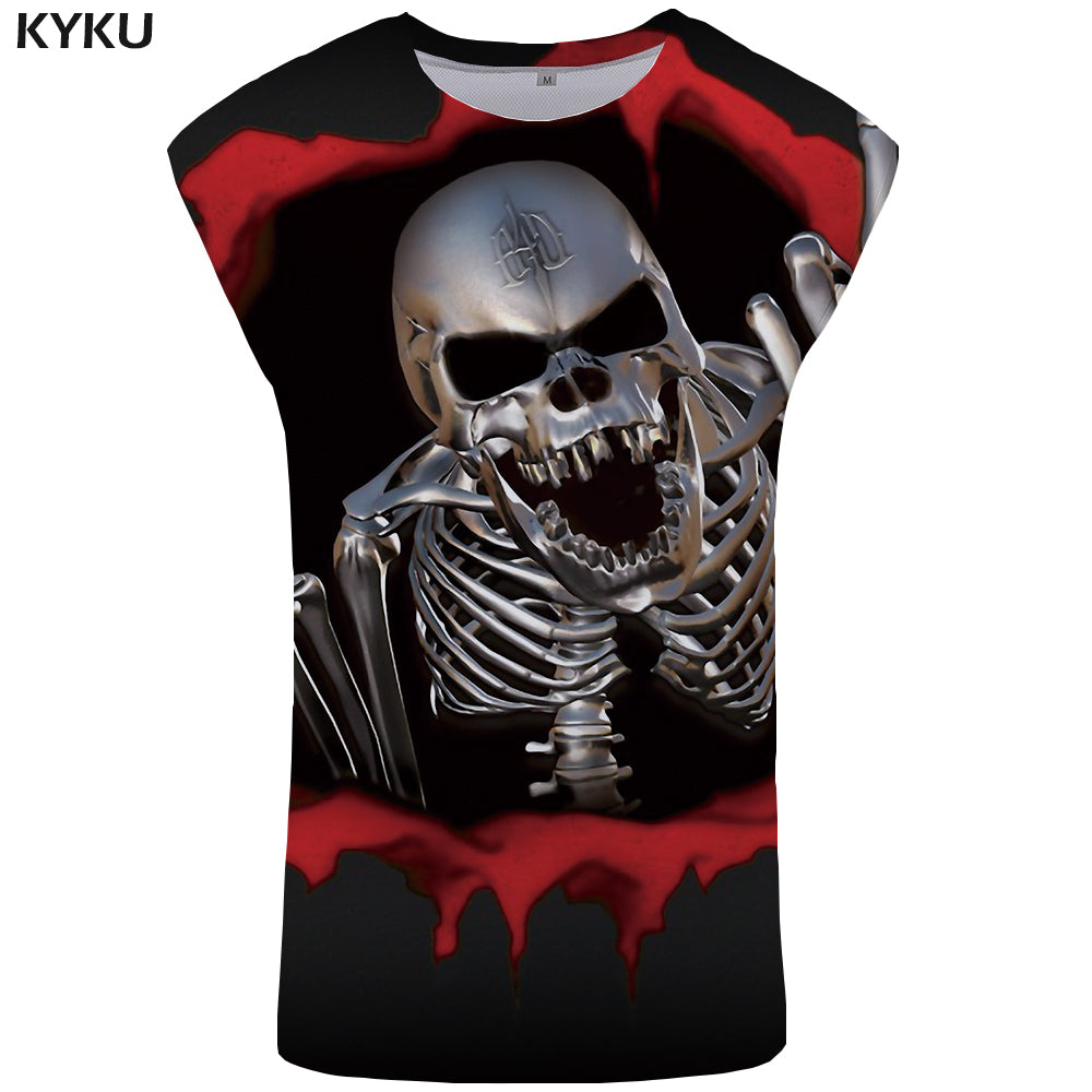 KYKU Mens Gothic Rock Punk Skull Tank Top Mens 3D Fitness Tank Top
