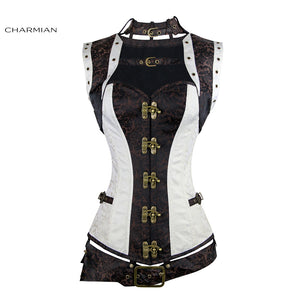 Charmian Womens Plus Size Steampunk Medieval Renaissance White Steel Boned Corset with Belt