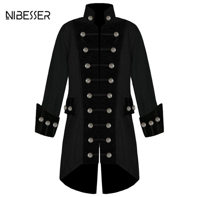 Mens Gothic Military Steampunk Brocade & Velvet Trim Trench Coat