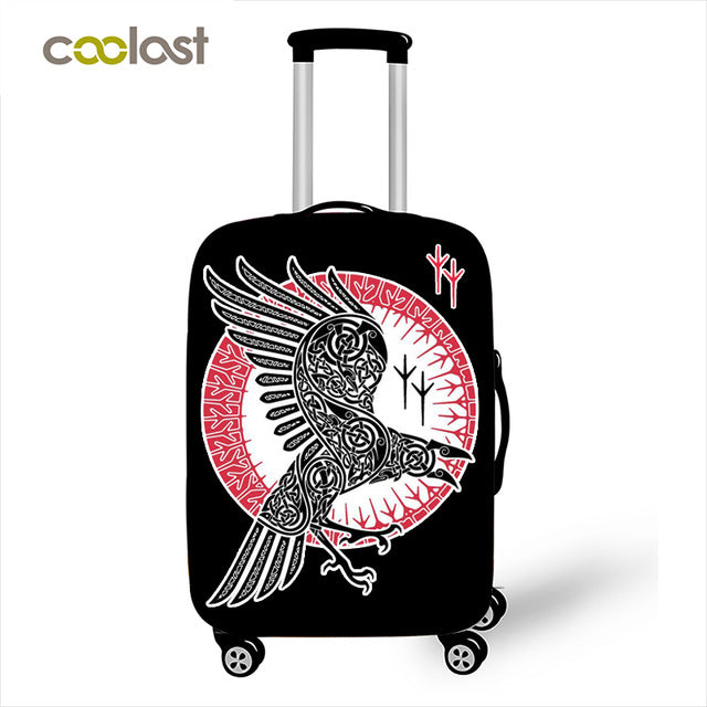 Vikings Raven Luggage Cover Tattoo Suitcase Protective Covers Gothic Travel Accessory