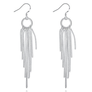 18K White Gold Plated Drop Chain Earrings