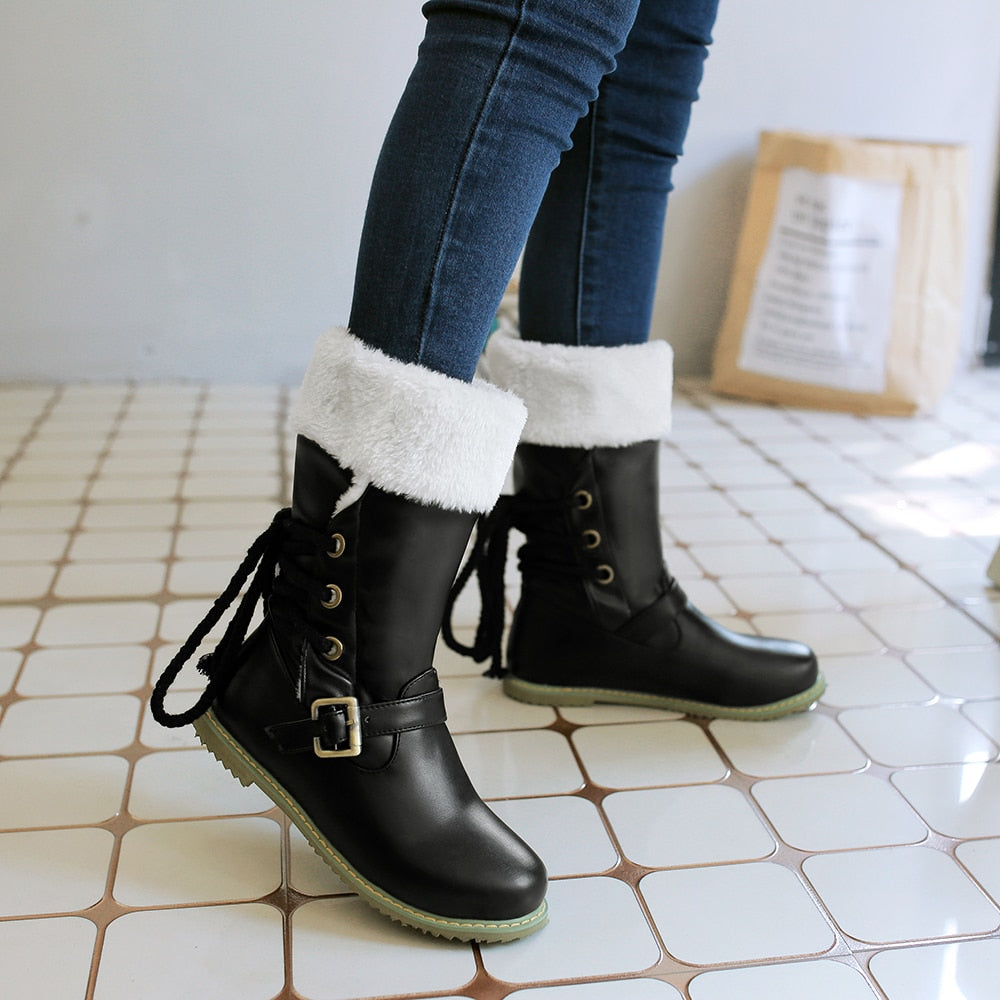 Womens Warm Winter Snow Buckle Mid Calf Boots Available in 3 Colours