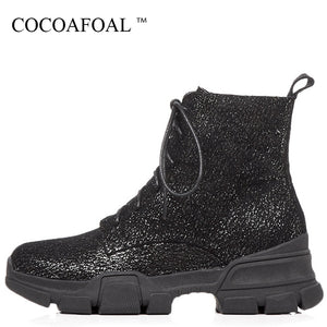 COCOAFOAL Womens Genuine Leather Winter Platform Black Shimmer Ankle Boots