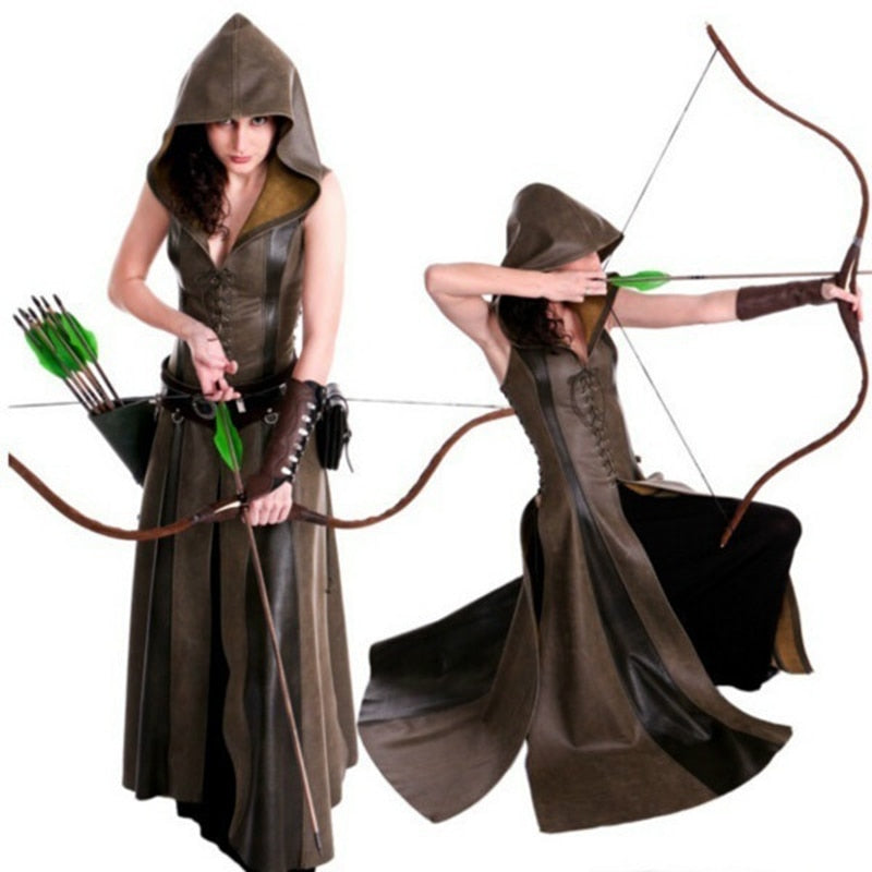 Womens Gothic Medieval Ranger Lace Up Leather Hooded Dress Adults Cosplay Medieval Anime Costumes