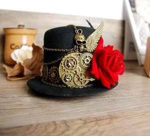 Gothic Steampunk Gears & Skull Wing Mini Top Hat with Red Rose
