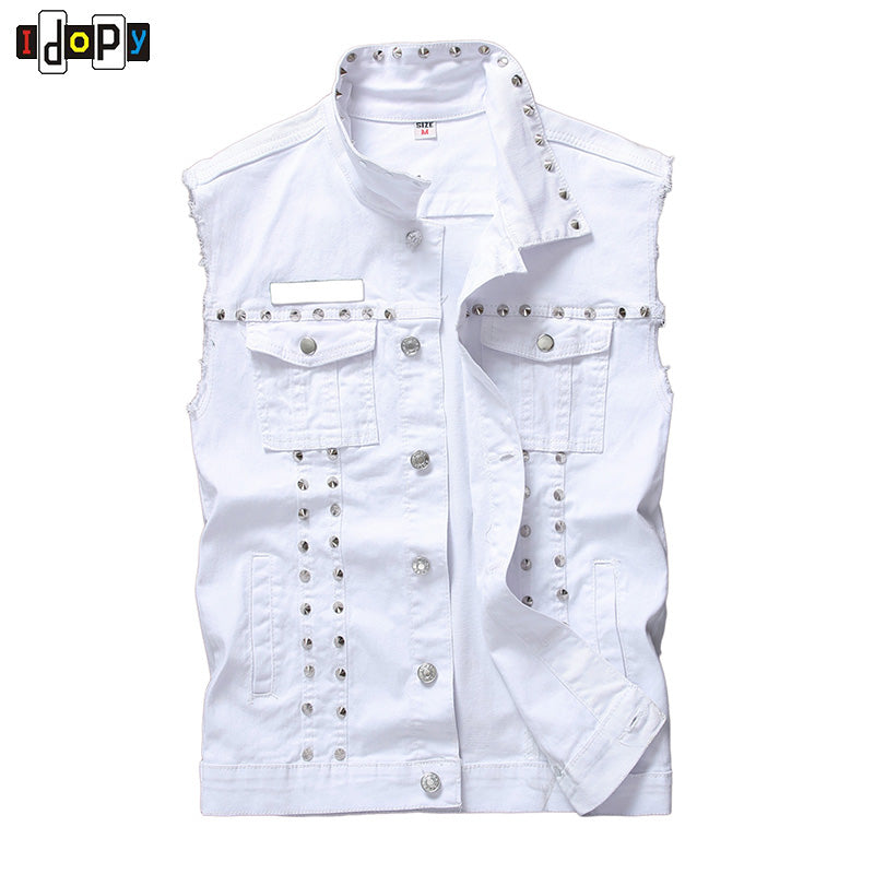 Mens Gothic Rock Punk Black White Red Denim Waistcoat High Quality Streetwear Vest Jacket