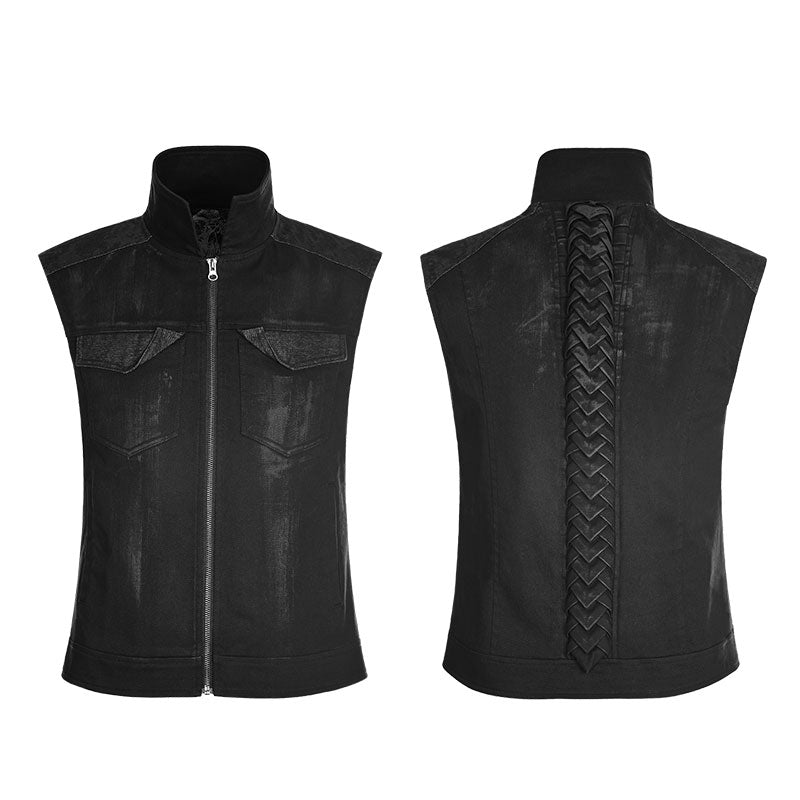 Mens Punk Rave Gothic Rock Black Sleeveless Waistcoat Vest Top