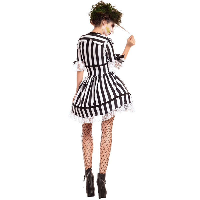 MOONIGHT Womens Gothic Steampunk Black & White Stripe Witch Cosplay Dress Fancy Dress Costume