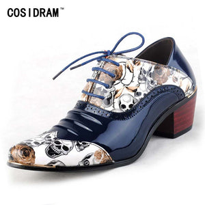Mens Genuine Leather Gothic Victorian Steampunk Skull Print Oxford Shoes