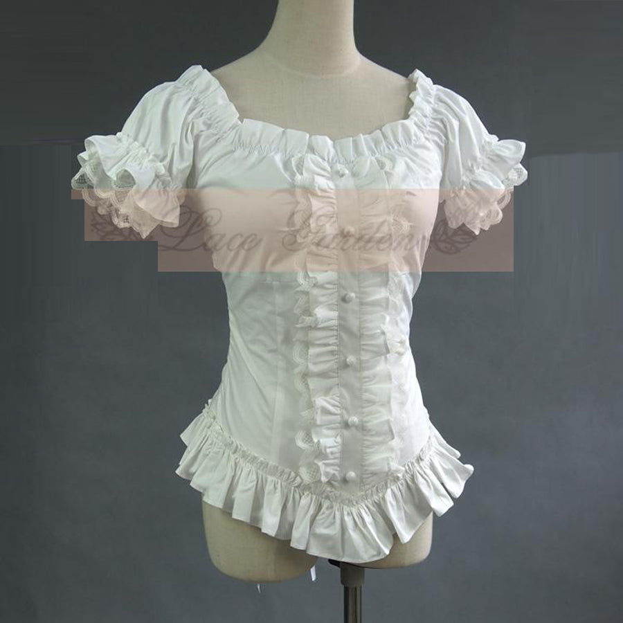 Womens Vintage Gothic Victorian White or Black Pleated Lace Blouse