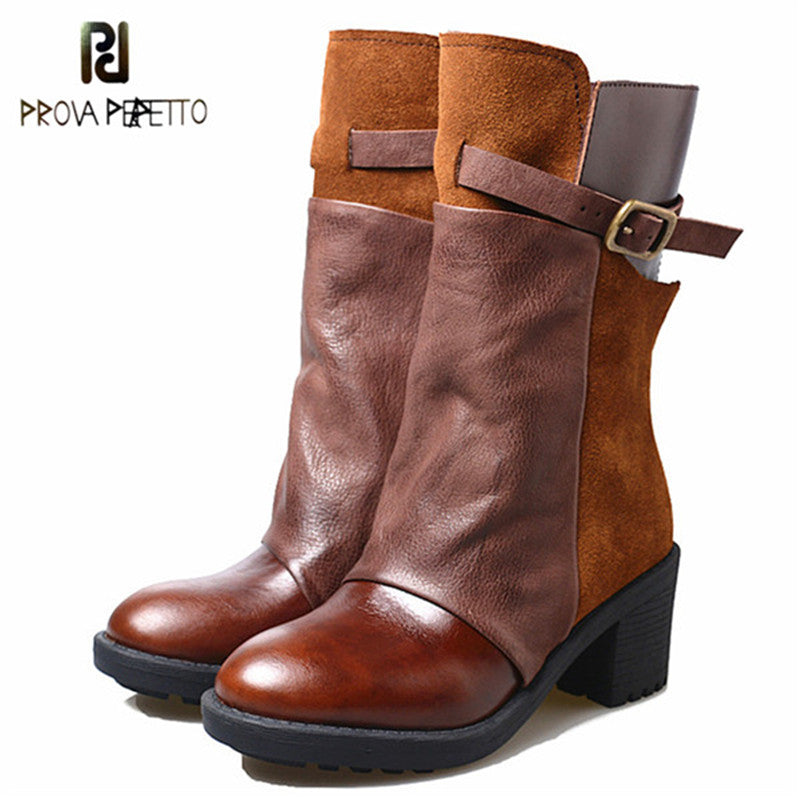 Womens Steampunk Handmade Genuine Leather & Suede Autumn Winter Boots