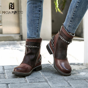 Prova Perfetto Genuine Leather Womens Ankle Boots Rivet Studded Winter Boots