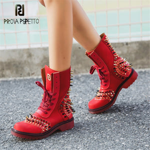 Prova Perfetto Womens Gothic Punk Genuine Leather Spiked Ankle Boots Fashion Platform Lace Up Ankle Boots