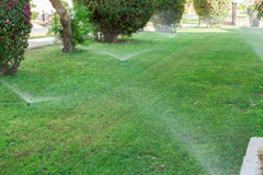 In ground sprinkler system on green lawn