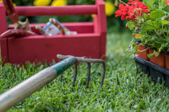 garden and lawn tools outside on grass