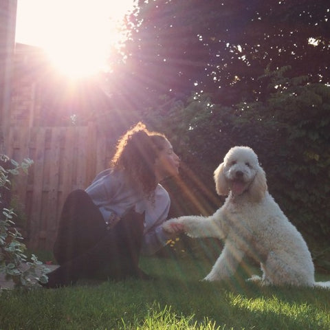 Girl and Dog Sitting in Shaded Grass