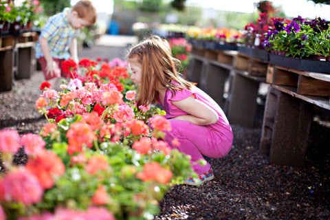 Girl bending down to smell the pink flowers in garden