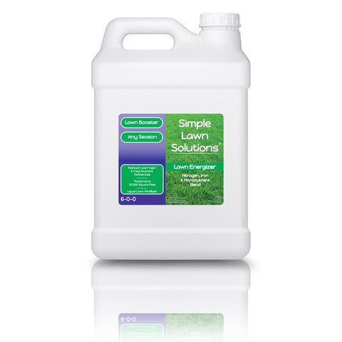 Benefits of Lawn Energizer 2.5 Gallons. Promotes dense growing turf, Amplifies growth responses, micronutrients for essential functions, emphasizes greening, treats nutrient deficiencies, enhances soil's mineral content. Lawn Booster: Lawn Energizer Chelated Iron & Nitrogen Blend (2.5 Gallons) Lawn Booster: Lawn Energizer Chelated Iron & Nitrogen Blend (2.5 Gallons)   LAWN BOOSTER: LAWN ENERGIZER CHELATED IRON & NITROGEN BLEND (2.5 GALLONS)