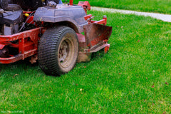 red ride on lawn mower cutting grass