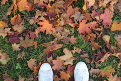shoes standing in grass with fallen leaves