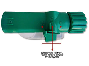 Fertilizer Hose End Sprayer. Switch sprayer from off, water, to on in between application areas.