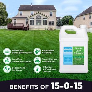 Benefits of Phosphorus Free Lawn Food. Promotes dense growing turf, amplifies growth responses, boosts plant hardiness, emphasizes greening, treats nutrient deficiencies, and enhances soil's mineral content.