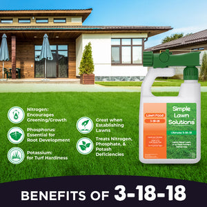 Lawn Food: 3-18-18  High Phosphorus & Potassium NPK (32 ounce)