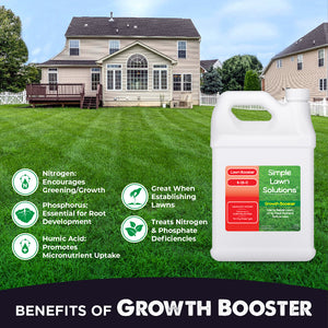 Benefits of Growth Booster 1 Gallon. Emphasizes Greening, Amplifies Growth Responses, Promotes Root Development, Helps Establish Seeds/New Sod, Treats Nutrient Deficiencies, Enhances Soil's Mineral Content.