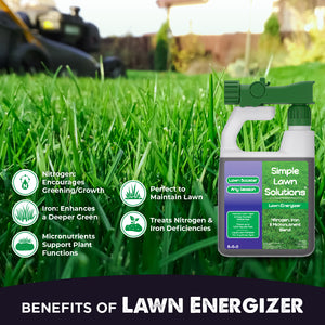 Benefits of Lawn Energizer 32 Ounce. Promotes dense growing turf, Amplifies growth responses, micronutrients for essential functions, emphasizes greening, treats nutrient deficiencies, enhances soil's mineral content.