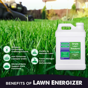 Benefits of Lawn Energizer 2.5 Gallons. Promotes dense growing turf, Amplifies growth responses, micronutrients for essential functions, emphasizes greening, treats nutrient deficiencies, enhances soil's mineral content.