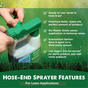 Hose-End Sprayer Features. Ready to Use: Hook to hose and go! Premixed Ratio: Apply the perfect amount of product! No Waste: Easily pause application in-between areas. Economical Option: Save $ spent on a third party sprayer. Use Again: Can be reused with same product, just add more product!