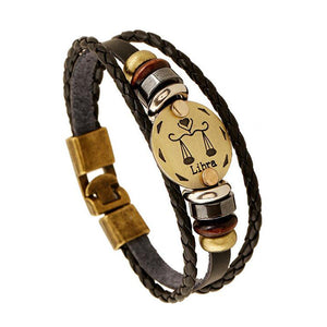 Constellations Men Leather Bracelet