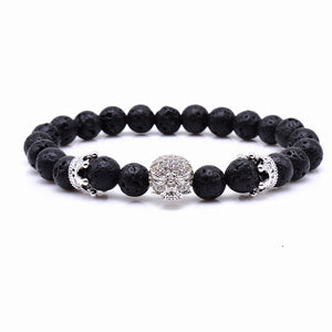 Natural Beads Skeleton Skull Black Lava Rock  Energy