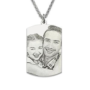 Sterling Silver 925 Engraved Photo Dog Tag Memorial  Picture or words