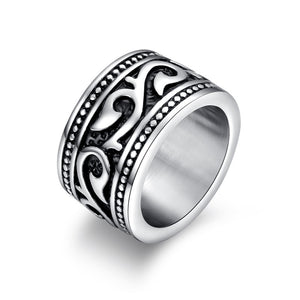 Stainless Steel Floral Unisex  Ring