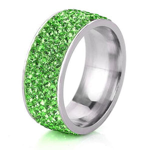 Fashion Stainless Steel Rings Crystal Diamond