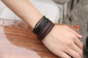 Leather Bracelets Black and Brown Braided Rope  2pcs
