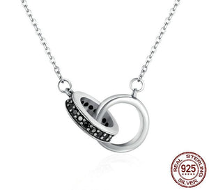 Sterling Silver Circle in Circle Black CZ Pendant
