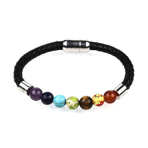 Natural Stone Chakra  Fashion Leather Bracelet