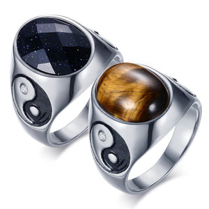 Tiger Eye Ring  Yin Yang Symbol