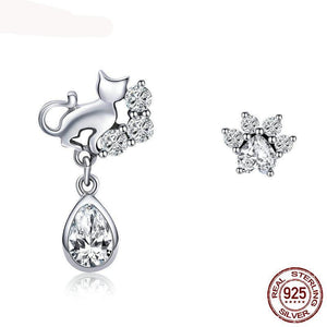Cat Stud Earrings 925 Sterling Silver