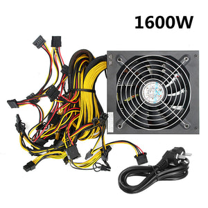 Hot Sale ATX PC 24 Pin Miner Power Supply 1300W 1600W 1800W for GPU Card Bitmain Antminer Mining Miner Power Supply Machine