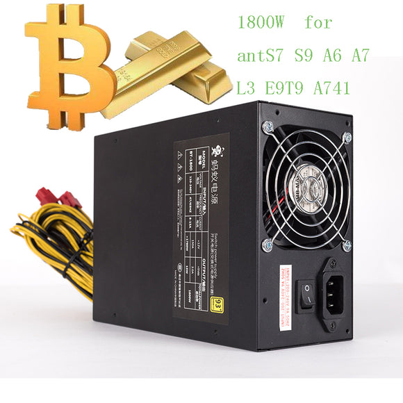 asic bitcoin miner power supply 1800W psu Antminer S7 A6 A7 S7 S9 L3 BTC miner machine server  power supply for A741E9T9